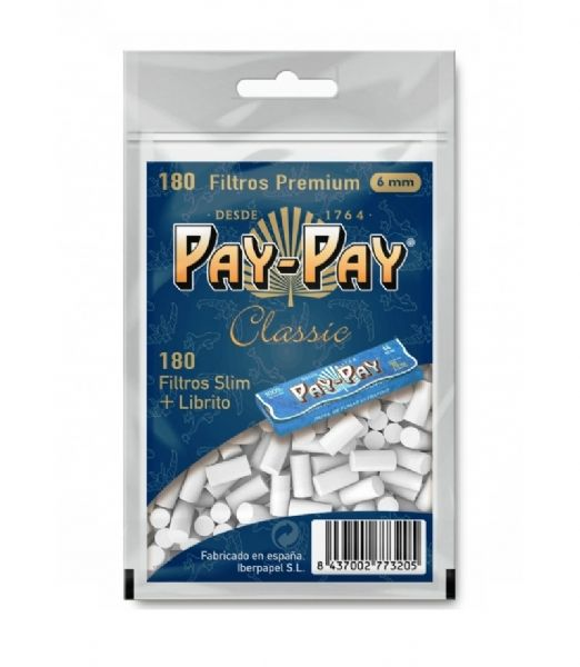 Pay-Pay 180 filtros 6MM + librillo blue 70MM